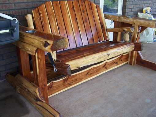 Custom Made Rustic Cedar Glider Swing