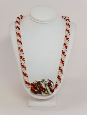 Custom Made Set - Gold-Lined White, Red And Dark Topaz Kumihimo Necklace And Matching Earrings