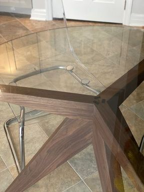 Custom Made Greg's Solid Unstained Black Walnut Tripod For 42 Inch Diameter Glass Top
