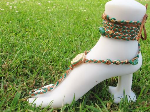 Custom Made Turtle Barefoot Sandals. Slave Anklets. Earthy Colors. Dancer Jewelry. Handmade.