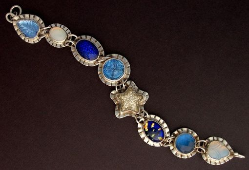 Custom Made Vintage Glass Bracelet-Link Bracelet Blue