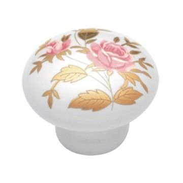 Custom Made Knob Porcelain Gold And Pink Roses