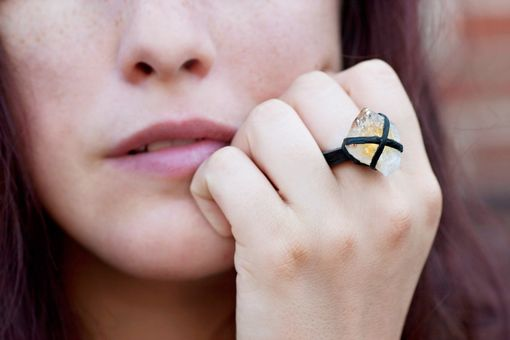 Custom Made Amethyst Or Citrine Point Leather Wrapped Ring, Custom Made To Your Size