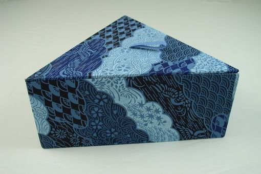 Custom Made Blue Chiyogami Triangular Decorative Box