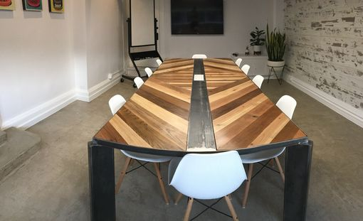 Custom Made 45 Degree Chevron Industrial Conference Table