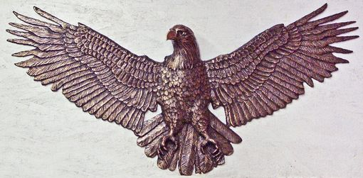 Custom Made Bronze Eagle In Relief, Wall Mount, 4 Feet Wide