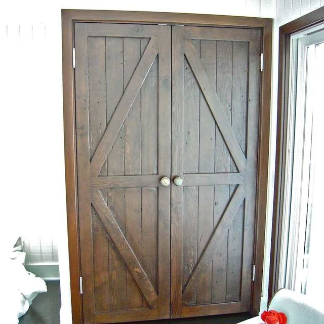 Hand Made Custom Reclaimed Wood Bi Fold Closet Doors For A Luxury