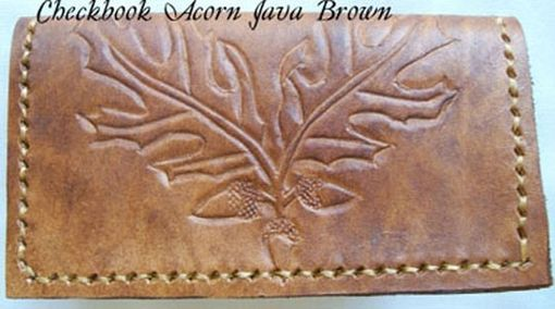 Custom Made Custom Leather Checkbook Cover With Acorn Design In Java Brown