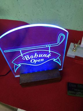 Custom Made Led-Lit Acrylic Sign In Wood Base