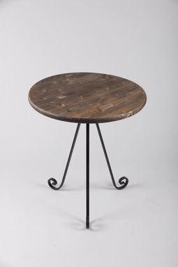 Custom Made Elegent Scroll End, Accent Table, Wood And Metal