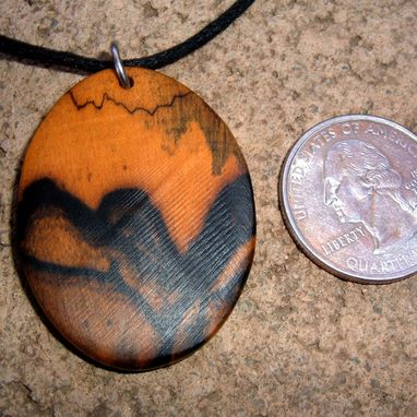 Custom Made Wood Pendant Of Black And White Ebony