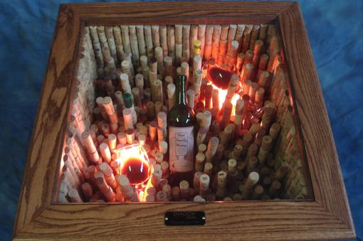 "Custom Made ""Taste The Wine"" Led End Table With 1,300 Corks And Customizable Wine Bottle."