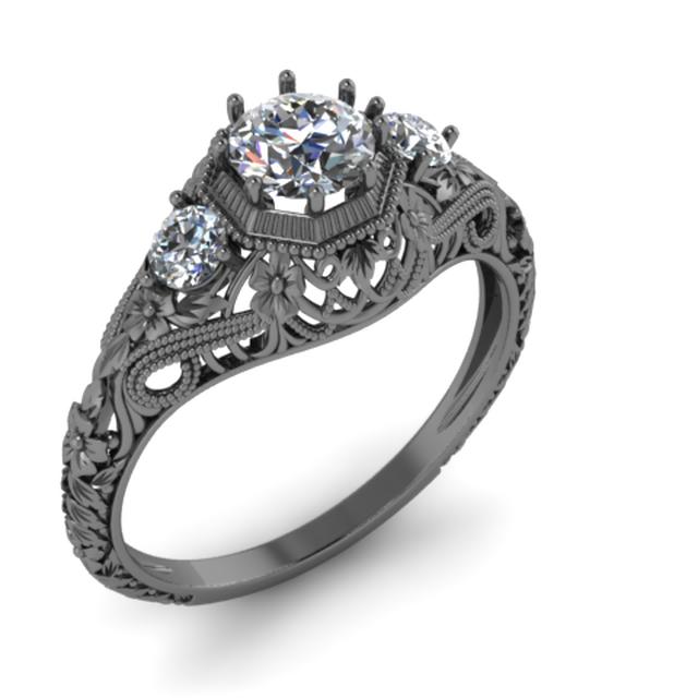 filigree diamond black 14k gold 3 stone ring antique vintage retro style by ilya kunin - Stone Wedding Rings