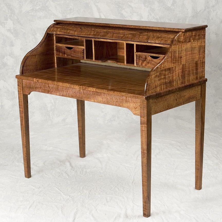 Vintage Mid Century Coffee Table Hawaiian Koa Wood By: Custom Hawaiian Curly Koa Roll Top Desk By Keaau Fine Art