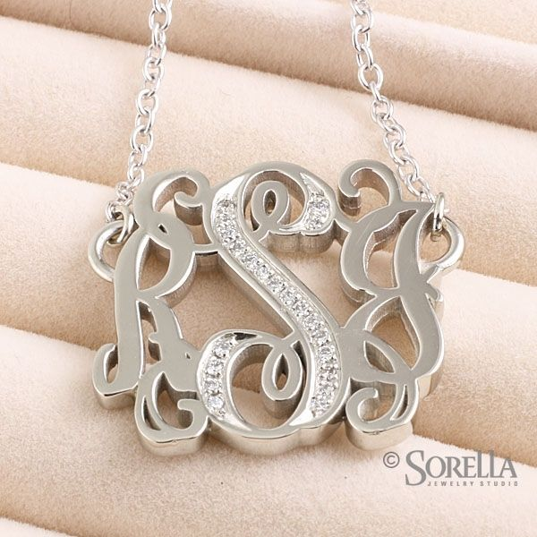 Hand crafted flowing script monogram pendant with diamond trim in custom made flowing script monogram pendant with diamond trim in white gold aloadofball Gallery
