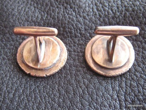 Custom Made Cufflinks With Three Letter Monogram In Solid Bronze And Hand Hammered Finish