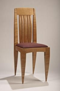 Custom Made Curly Maple Dining Chair With Upholstered Seat