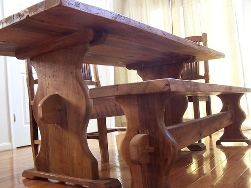 Custom Made Bavarian Style Reclaimed Barnwood Trestle Table