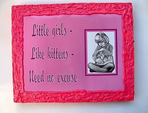 Custom Made Young Girl's Bedroom Wall Plaque - Pink