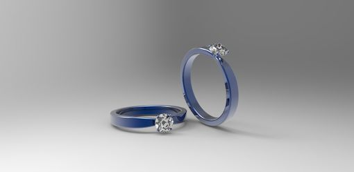 Custom Made 14k Blue Gold Solitaire Engagement Ring With White Sapphire