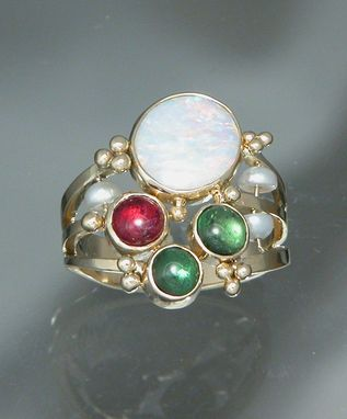 Custom Made 18kt Yellow Gold Opal Ring With Pink And Green Tourmaline And Pearl Beads
