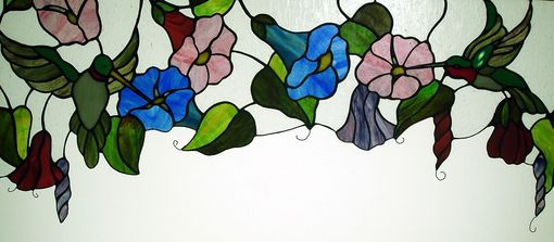 Custom Made Hummingbirds And Morning Glories In Stained Glass