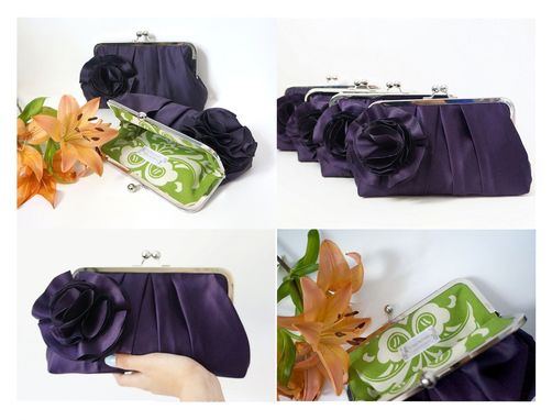 Custom Made Purple Pleated Bridal Clutch Purse