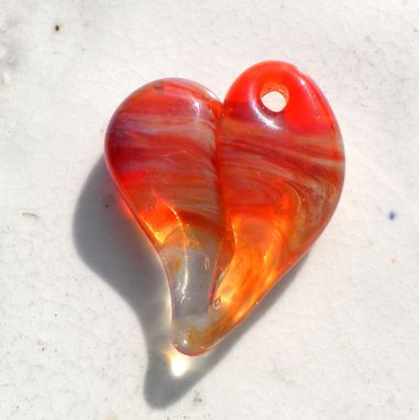 Custom Made Red Glass Heart Pendant Necklace Lampwork Boro Heart Red Yellow