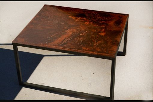 Custom Made Industrial Style Rusted Steel Coffee Table