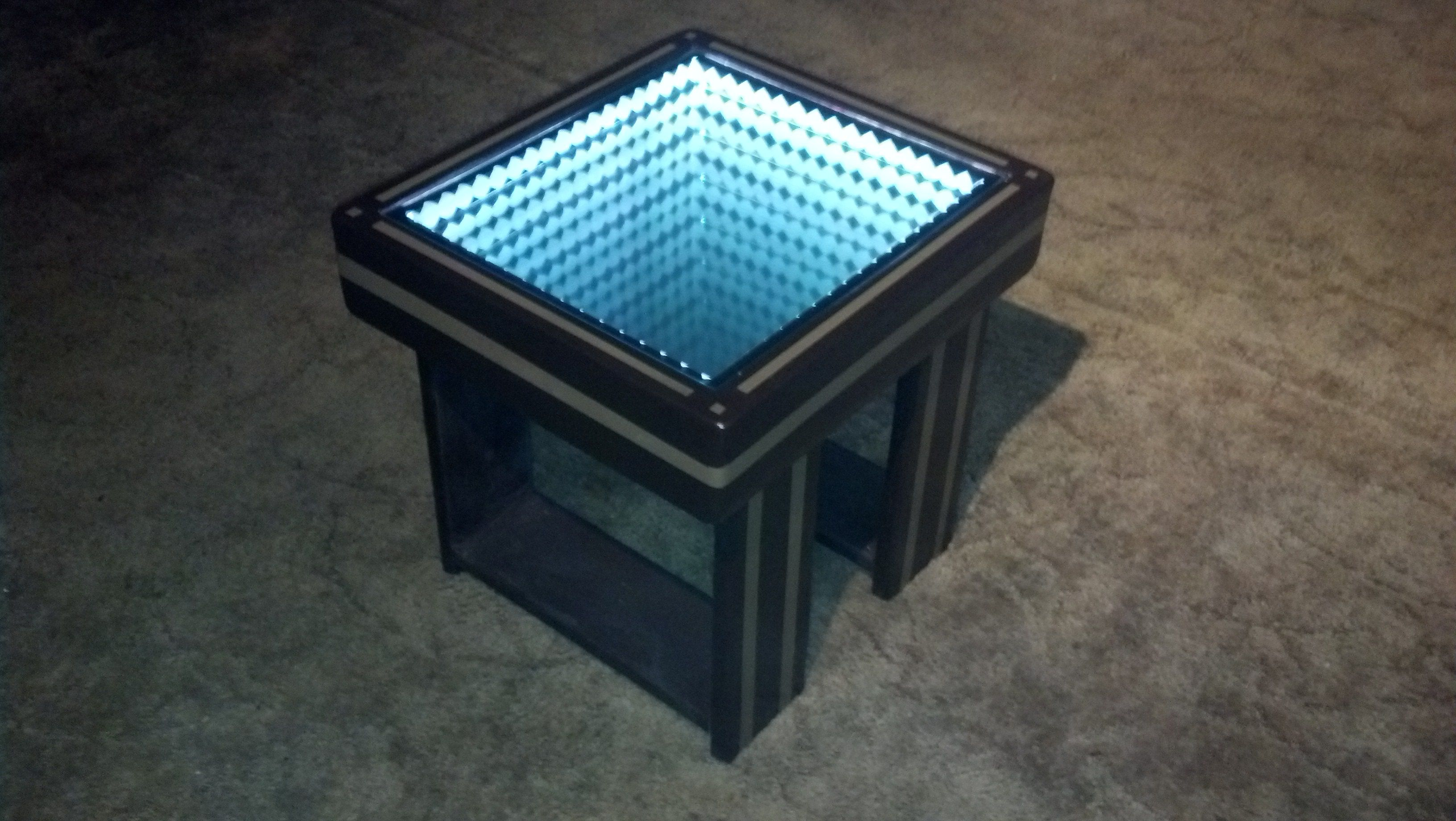 A Custom Made Infinity Mirror Coffee Table With Led Lighting Effects Espresso And Nutmeg To Order From Belly Brand Custommade