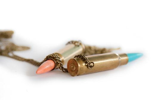 Custom Made Bullet Necklace With Howlite Stone, Choose From 10 Colors