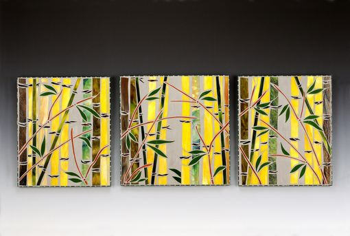 Custom Made Bamboo Garden Triptych