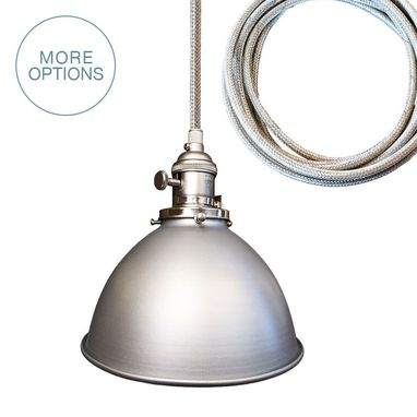 "Custom Made Factory 7"" Metal Shade Bare Bulb Pendant Light- Chrome Cord"
