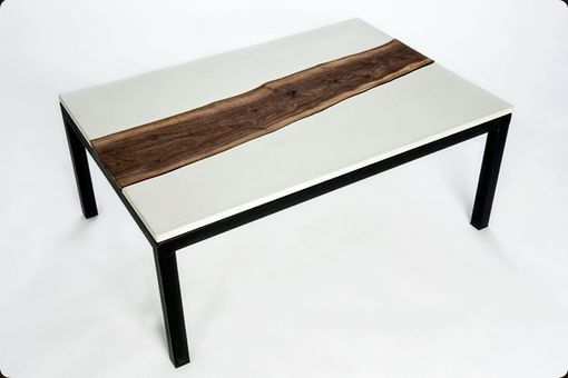 Custom Made Concrete, Walnut, And Steel Coffee Table
