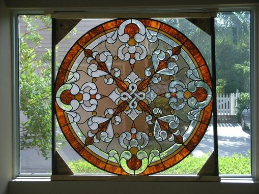 Custom Made Stained Glass With Beveled Cluster Accents And Hand Made Glass