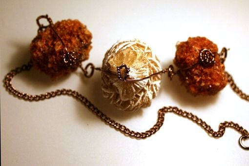 Custom Made Rose Selenite / Desert Rose Between Two Creedite Wire Wrapped Necklace