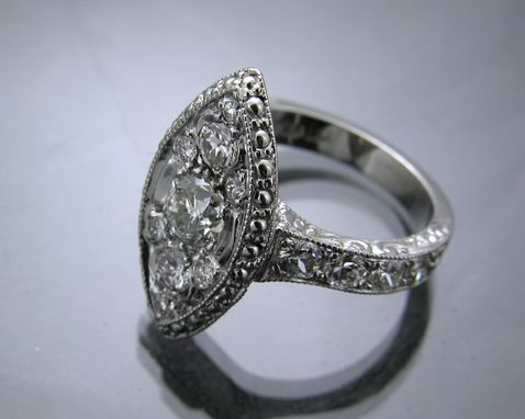 Custom Made Carved Antique Reproduction 14k White Gold Engagement Ring