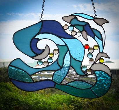 Custom Made Wave And Dolphin Stained Glass