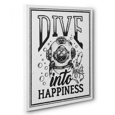 Custom Made Dive Into Happiness Canvas Wall Art