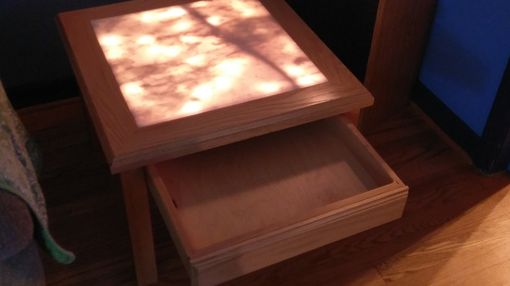 Custom Made Oak And Marble, Underlit End Tables