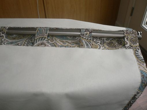 Custom Made Pair Of Decorative Designer Window Curtain Panels In Richloom Lucy Eden- In White