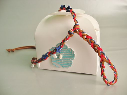 Custom Made Slave Anklet. Tan Deerskin And Hemp Cords. Red, White And Blue. Hand Braided. Foot Jewelry.