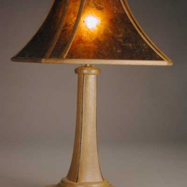Aurora arts and crafts table lamp with wood framed mica shade