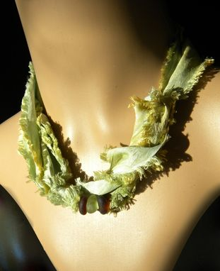 Custom Made Earth And Sand Silk Wraparound With Lime Sea Glass