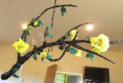 Custom Made Hanging Lamp Chandelier Branch ! 4 Sockets, Big Porcelain Roses, Leaves