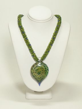 Custom Made Olive And Purple Kumihimo Necklace With Golden Dragon Vortex Lampwork Pendant
