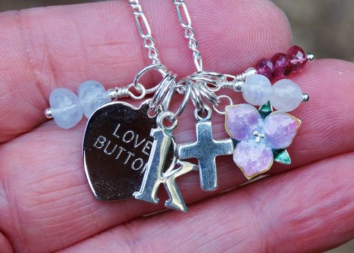 Custom Made Gemstone Birthstone, Initial, And Charm Necklace In Sterling Silver