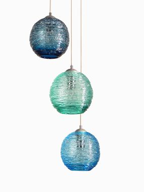 Custom Made Multiple Globe Spun Glass Cluster Pendant Chandelier