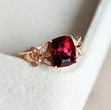 Custom Made 3.31 Carat Rhodolite Garnet Ring In 14k Rose Gold