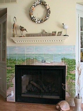Custom Made Hand Painted Tile: Beach Fireplace
